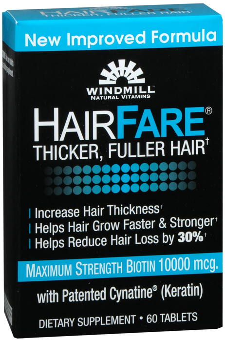 Windmill Hair Fare 60 By Windmill Health Products Item No.:4166239 NDC No.: UPC No.: 046489553903 Item Description: Multivitamins Other Name: Windmill Hair Fare Therapeutic Code: Therapeutic Class: V