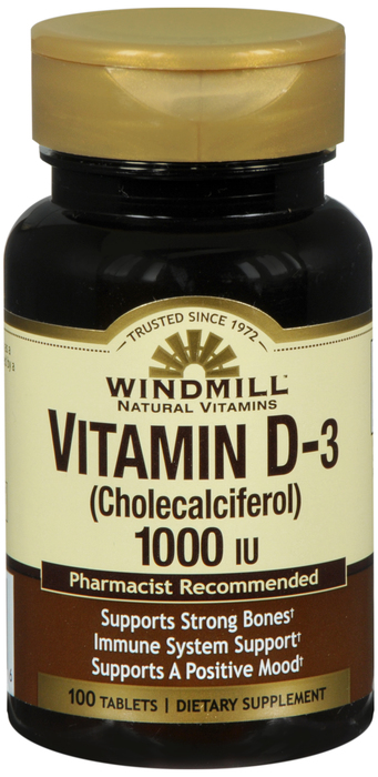 Vitamin D 1000 IU Tablet 100 Count By Windmill Health Products
