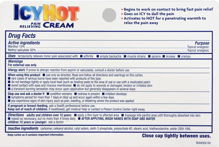 '. ICY HOT RUB CREAM 3OZ methyl .'