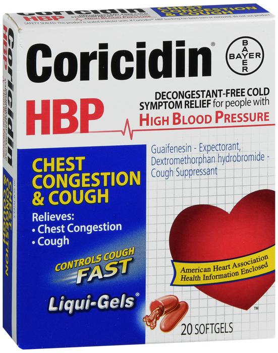 Coricidin HBP Chest Congest Cgh Soft Gel NDC No.:41100-0807-43 41100080743 41100-807-43 4110080743 UPC No.: 0-41100-80743-4  041100807434 041100-807434