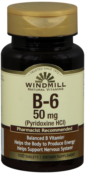 Windmill B-6 100 By Windmill Health Products Item No.:4165389 NDC No.: UPC No.: 035046001223 Item Description: Vitamin B & Vitamin B Complex Other Name:Windmill B-6 Therapeutic Code: Therapeutic Class