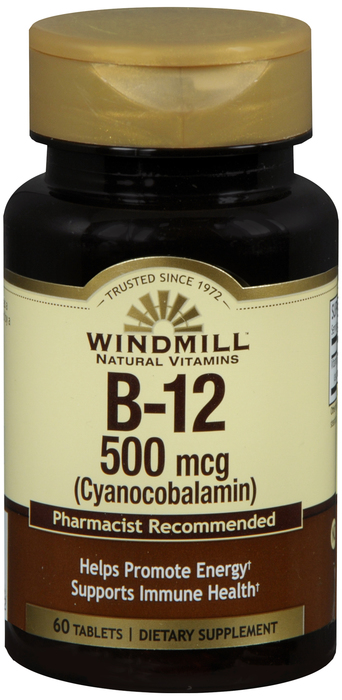 Windmill B-12 60 By Windmill Health Products Item No.:4165410 NDC No.: UPC No.: 035046001292 Item Description: Vitamin B & Vitamin B Complex Other Name:Windmill B-12 Therapeutic Code: Therapeutic Clas