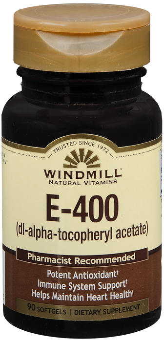 Windmill E 90 By Windmill Health Products Item No.:4165656 NDC No.: UPC No.: 035046002695 Item Description: Vitamin E Other Name:Windmill E Therapeutic Code: Therapeutic Class: Vitamins DEA Class: Zer