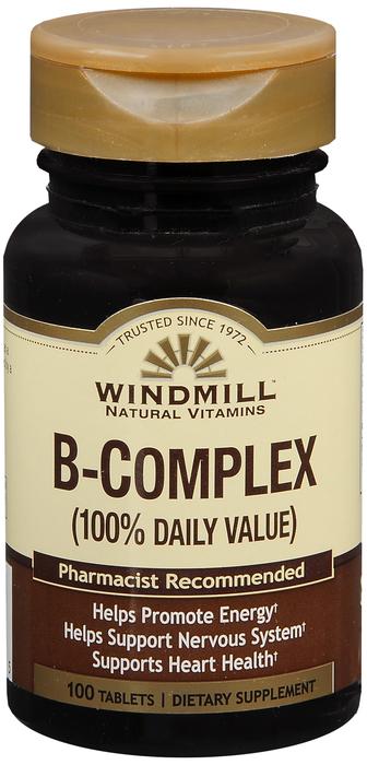 Windmill B Complex Tab 100 By Windmill Health Products Item No.:4165439 NDC No.: 35046000131 UPC No.: 035046001315 Item Description: Vitamin B & Vitamin B Complex Other Name:Windmill B Complex Therape