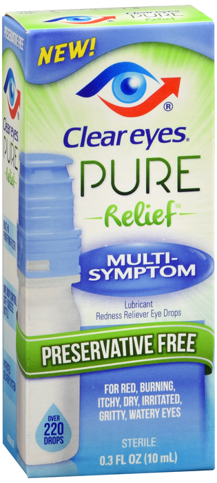 Clear Eyes Pure Relief Eye Drops, Lubricant, Multi-Symptom - 0.3 fl oz