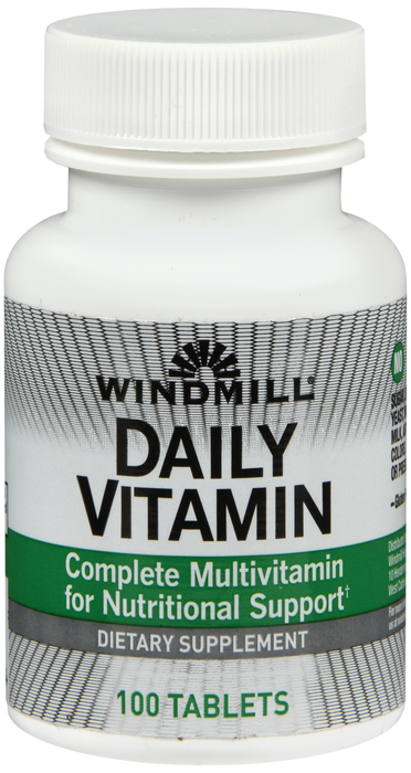 Windmill Daily-Vit 100 By Windmill Health Products Item No.:4165187 NDC No.: UPC No.: 035046000684 Item Description: Multivitamins Other Name:Windmill Daily-Vit Therapeutic Code: Therapeutic Class: Vi