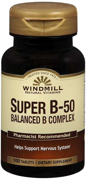 Windmill Super B-50 100 By Windmill Health Products Item No.:4160198 NDC No.: UPC No.: 035046001384 Item Description: Vitamin B & Vitamin B Complex Other Name:Windmill Super B-50 Therapeutic Code: The