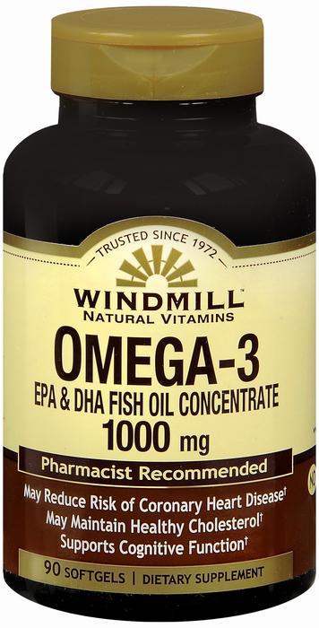 Windmill Omega III 1000 mg Cap 90 By Windmill Health Products Item No.:4161632 NDC No.: 35046000334 UPC No.: 035046003340 Item Description: Essential Fatty Acids Other Name: Windmill Omega III Therap