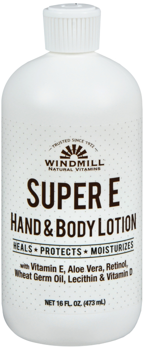 Windmill Super E 16 oz By Windmill Health Products Item No.:4160940 NDC No.: UPC No.: 035046005030 Item Description: Hand & Body Moisturizers Other Name:Windmill Super E Therapeutic Code: Therapeutic