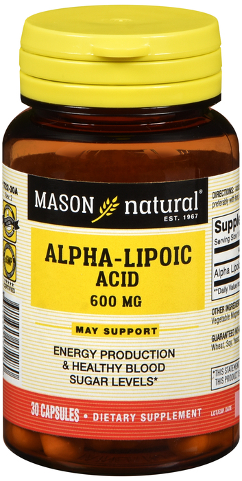 Alpha Lipoic 600 Mg Cap 30 By Mason Distributors Inc