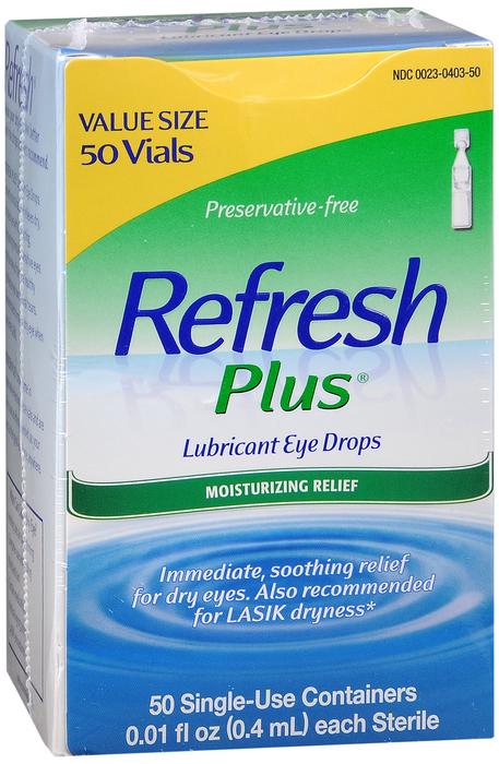 Refresh Plus Lubricant Single-Use Eye Drops - 50 Ct 0.01 Fl oz Vials