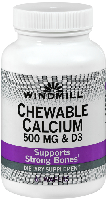 Calcium 500mg Chewtab 60 Count Windmill By Windmill Health Products