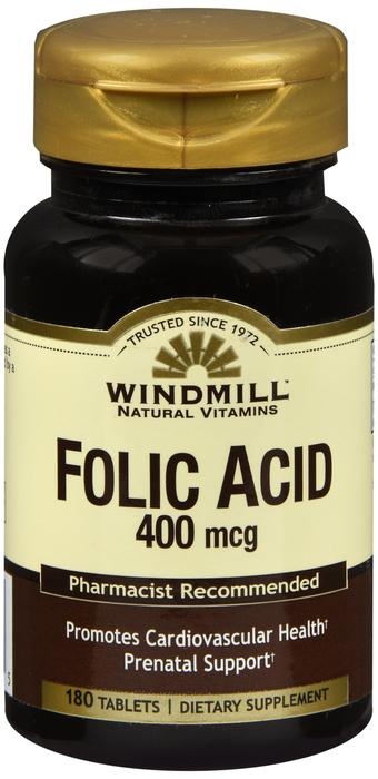 Windmill Folic Acid 180 By Windmill Health Products Item No.:4162185 NDC No.: UPC No.: 035046002725 Item Description: Vitamin B & Vitamin B Complex Other Name:Windmill Folic Acid Therapeutic Code: The