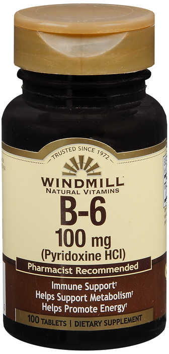 Windmill B-6 100 By Windmill Health Products Item No.:4165391 NDC No.: UPC No.: 035046001230 Item Description: Vitamin B & Vitamin B Complex Other Name:Windmill B-6 Therapeutic Code: Therapeutic Class