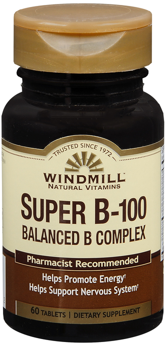 Windmill Super B- 60 By Windmill Health Products Item No.:4159994 NDC No.: UPC No.: 035046001322 Item Description: Vitamin B & Vitamin B Complex Other Name:Windmill Super B- Therapeutic Code: Therapeu