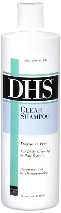 Dhs Clear Shm 16 oz By Person & Covey, . Item No.:4756106 NDC No.: 00096072516 UPC No.: 300960725167 Item Description: Therapeutic Shampoo, Hair & Sc Other Name:Dhs Clear Therapeutic Code: 849200 Ther