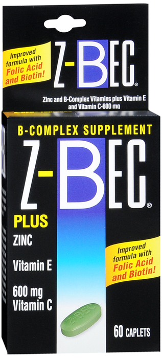 Z-Bec Vitamin B Complex Tablet With Zinc 60 Count By International Vitamin Corpo