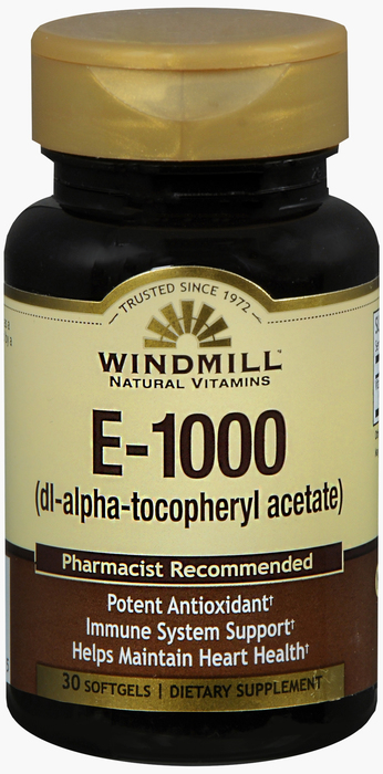 Windmill E 30 By Windmill Health Products Item No.:4161164 NDC No.: UPC No.: 035046002565 Item Description: Vitamin E Other Name:Windmill E Therapeutic Code: Therapeutic Class: Vitamins DEA Class: Zer