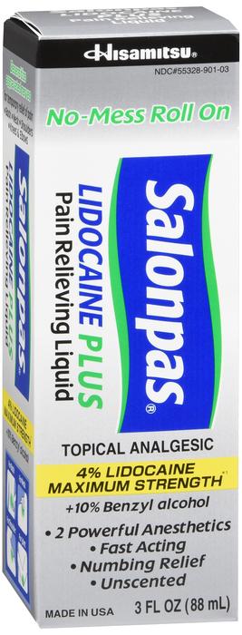 Salonpas Lidocaine Plus Roll-On Liquid 3 Oz
