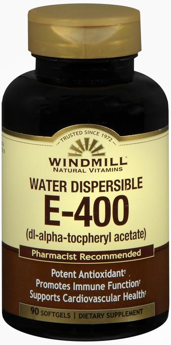 Windmill E Water 90 By Windmill Health Products Item No.:4165631 NDC No.: UPC No.: 035046002671 Item Description: Vitamin E Other Name:Windmill E Water Therapeutic Code: Therapeutic Class: Vitamins DE