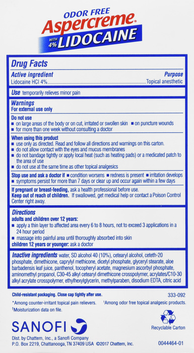 Aspercreme Lidocaine Foot Cream 4 oz by Chattem  Supplier 0050001983 CHATTEM DRUG & CHEM CO UPC# 0-41167-05862-6  NDC: 41167-0058-62 ABC Legacy# 729412