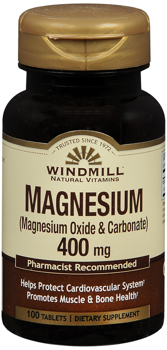 Windmill Magnesium Oxide 200 mg Tab 100 By Windmill Health Products Item No.:4165757 NDC No.: 35046000323 UPC No.: 035046003234 Item Description: Misc Mineral Supplements Other Name:Windmill Magnesium