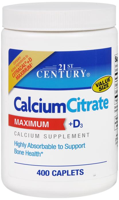21st Century Calcium Citrate +D Maximum 400 Tab