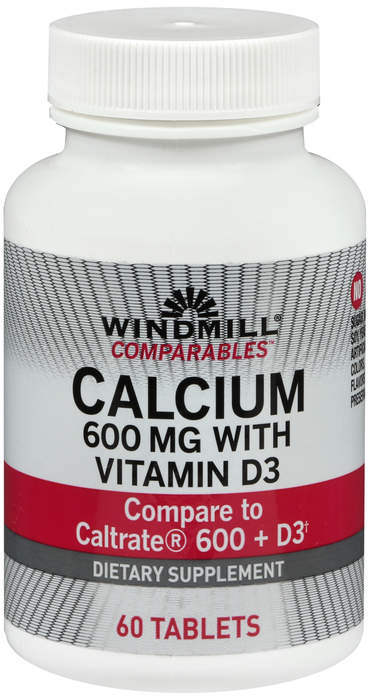 Calcium Carbonate +D 600mg Tablet 60 Count Windmill By Windmill Health Products