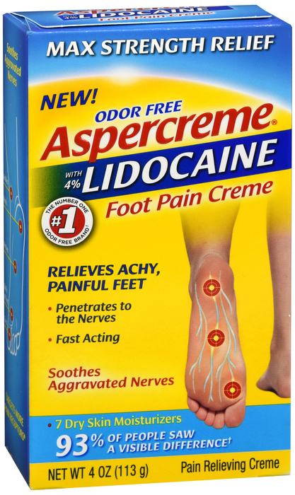 Aspercreme Lidocaine Foot Cream 4 oz by Chattem