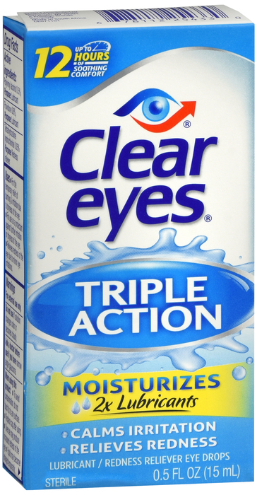 Clear Eyes Triple Action Relief Eye Drops - 0.5 fl oz bottle