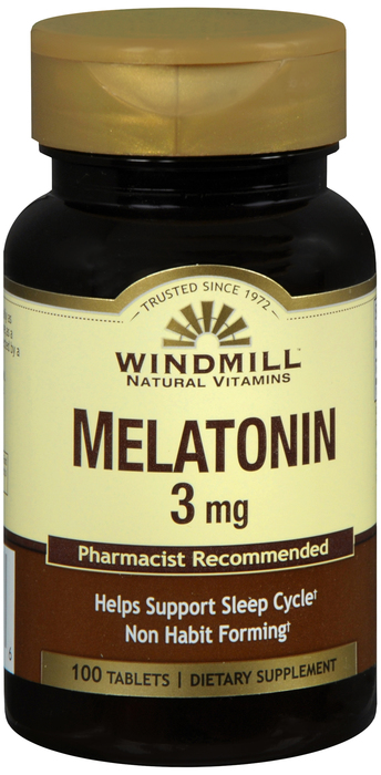 Windmill Melatonin 3 mg Tab 100 By Windmill Health Products Item No.:4170807 NDC No.: 35046000390 UPC No.: 035046003906 Item Description: Enzymes, Amino Acids & Hormone Other Name: Windmill Melatonin