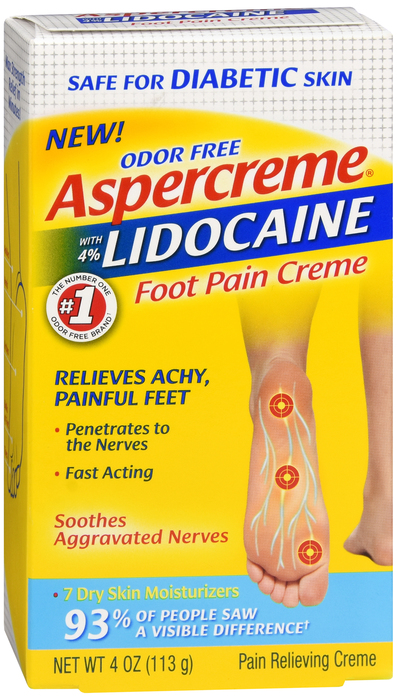 Aspercreme Lidocaine Diabetic Foot Cream 4 oz by Chattem
